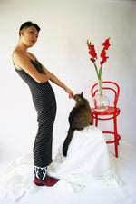 Vintage Slip Silk Beaded Dress With A Deep Slit - ULTRA-CAT