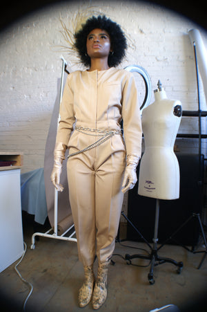 Vintage Beige Wool Jumpsuit - ULTRA-CAT