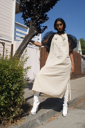 "Unique ""Face"" Linen Dress With Puffy Sleeves"