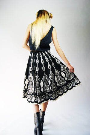 Vintage Indian Black Boho Skirt - ULTRA-CAT