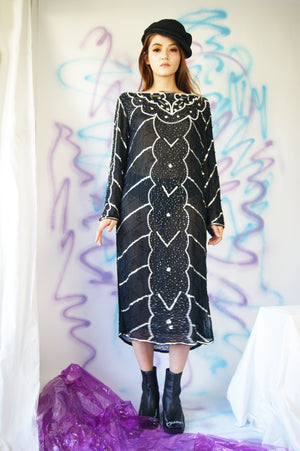 Hand Beaded Silk Relaxed Fit Dress - ULTRA-CAT