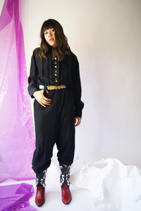 1980's Black Jumpsuit With Rich Golden Detailing - ULTRA-CAT