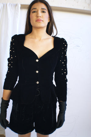 Black Velvet Puffy Sleeved Jacket With Pearls - ULTRA-CAT