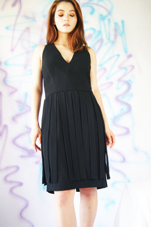 1990's Black Party Dress With Deep V-Neck - ULTRA-CAT