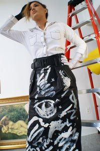 Leather Hand painted Pencil Skirt - ULTRA-CAT