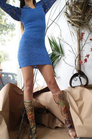 Blue Handmade Macrame Vintage Dress - ULTRA-CAT
