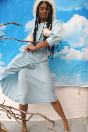 Vintage Pleated Sky Blue Dress - ULTRA-CAT