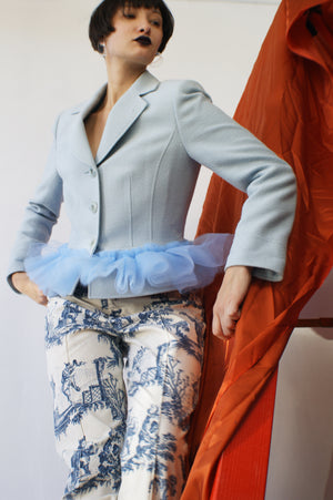 Redesigned Light Blue Peplum Jacket - ULTRA-CAT