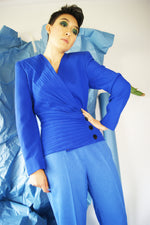 Cobalt Blue Pleated Jacket - ULTRA-CAT