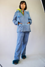 Blue Suede Suit From 1970's Similar To Balenciaga Aesthetics - ULTRA-CAT