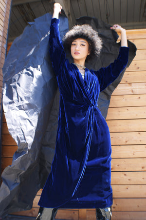Royal Blue Wrap Velvet Dress - ULTRA-CAT