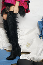 Upcycled Unique Velvet Over The Knee Boots With Feathers - ULTRA-CAT