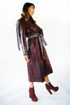 Vintage 1970's GENUINE LAMB LEATHER Burgundy Coat Very Similar To Michael Kors Runway look - ULTRA-CAT