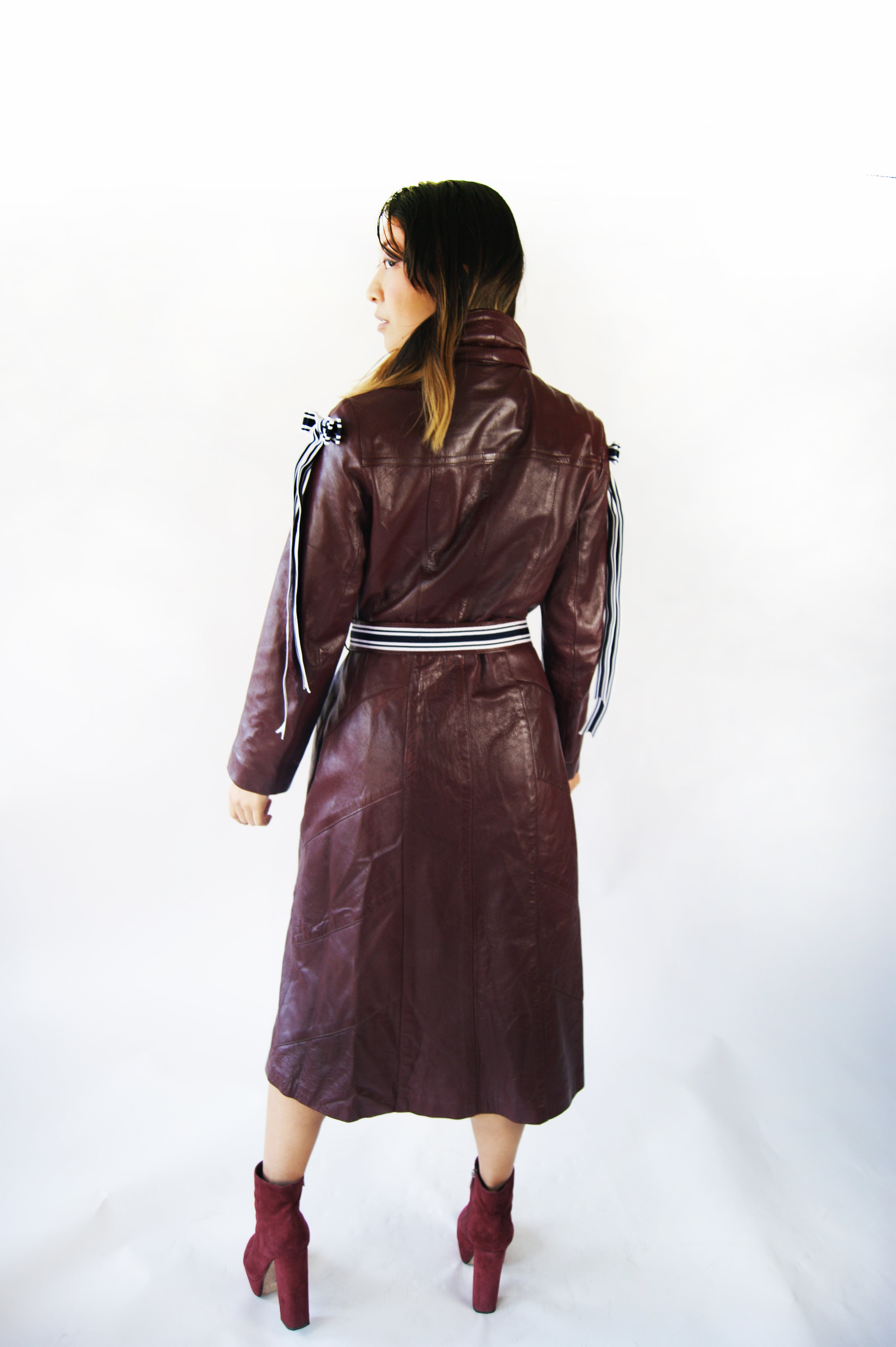 Vintage 1970's GENUINE LAMB LEATHER Burgundy Coat Very Similar To Michael Kors Runway look