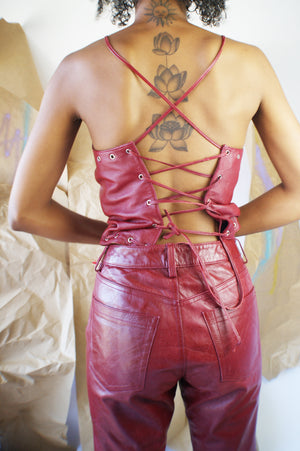 Real Leather Abstract Vintage Suit - ULTRA-CAT