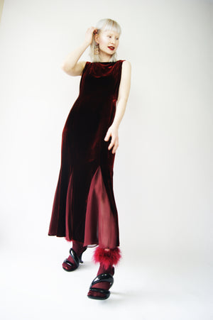 Burgundy Velvet Evening Gown - ULTRA-CAT
