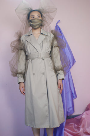 Avant Garde Restructured Coat With Exaggerated Puff Sleeves