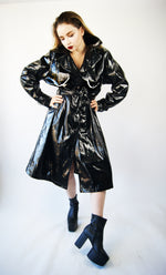 "Vintage Black Vinyl COAT From 1970's With ""Boobs"" Print - ULTRA-CAT"