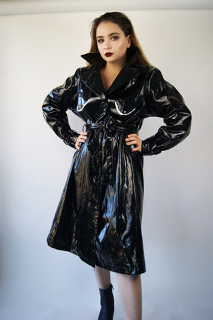 "Vintage Black Vinyl COAT From 1970's With ""Boobs"" Print, Look Like It Is Straight From Lanvin Runway - ULTRA-CAT"
