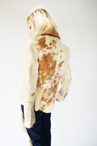 Leather And Fur Cow Jacket From 1970's - ULTRA-CAT