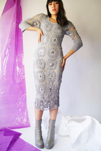 Gray Macrame Vintage Dress - ULTRA-CAT