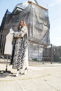 Unique Faux Fur Dalmatian Oversized Coat - ULTRA-CAT