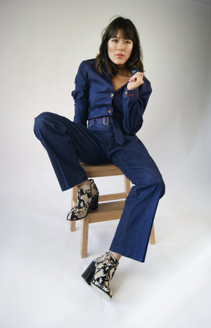Denim Suit With Snake Embroidery , Looks Like It is From Gucci runway - ULTRA-CAT