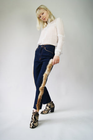 Vintage 1960's Jeans With The Rabbit Fur Decor - ULTRA-CAT