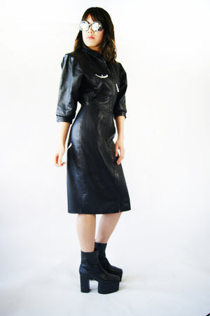 Vintage Leather Dress with Body Hand painted Print, Similar To The Maison Margiela - ULTRA-CAT