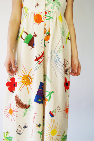 Unique Vintage Dress With Kid's Drawings Print - ULTRA-CAT