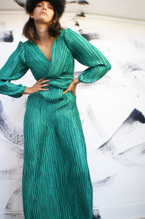 Reserved for Kimber George F Couture Micro Pleat Emerald Green Dress - ULTRA-CAT