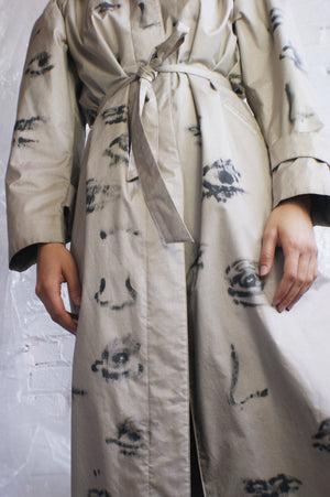 Unique Eye Lip Nose Trench Coat