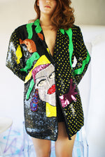 RARE 1980's Repaired Sequined Silk Vintage Jacket - ULTRA-CAT