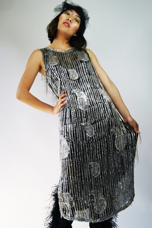 1970's does 1930's Hand Beaded Flapper Dress - ULTRA-CAT