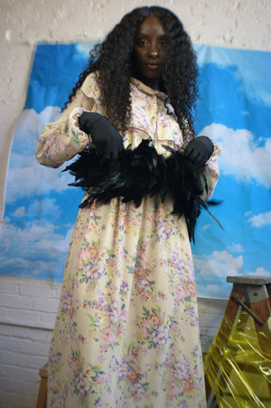 Unique Upcycled Floral Dress With Feathers - ULTRA-CAT