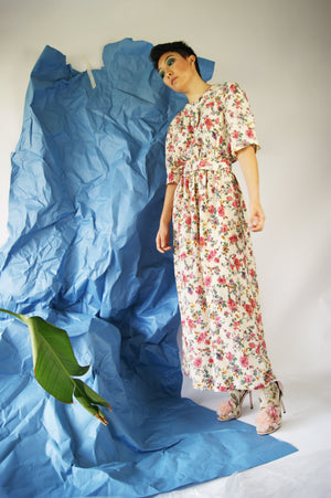 Belted Floral 1970's Dress - ULTRA-CAT