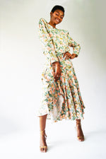 1970's  Floral Dress With Dropped Waist - ULTRA-CAT