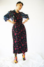 Floral 1990's Velvet Dress - ULTRA-CAT
