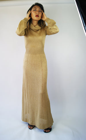 1970's Golden Knit Dress, Similar To The Yas Couture by Elie Madi - ULTRA-CAT