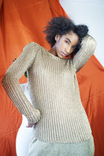 Vintage Ralph Lauren Gold Metallic Sweater - ULTRA-CAT