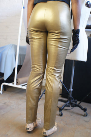 Gold REAL Leather Pants - ULTRA-CAT