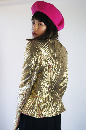 Unique 1940's Golden Jacket with Reversible Hot Pink Lining - ULTRA-CAT