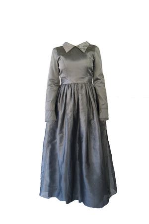 Vintage Prom Gray Dress From 1970's - ULTRA-CAT