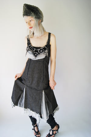 Deconstructed Gothic Gray Vintage Dress - ULTRA-CAT