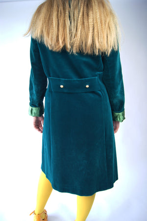 Emerald Green Velvet 1950's Vintage Coat - ULTRA-CAT