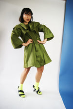 Vintage 1990's Green Structured Coat Similar to Comme Des Garsons  aesthetics - ULTRA-CAT