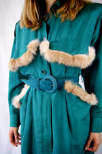 Green 1980's Dress with REAL RABBIT FUR - ULTRA-CAT