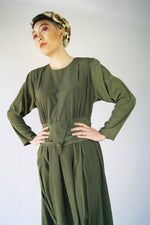 1980's  Silk Khaki Dress - ULTRA-CAT