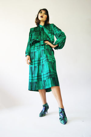 Coordinate Two-Piece Green 1980's Silk Vintage Suit - ULTRA-CAT