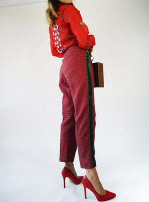 Tartan Fabric Vintage 1950s High Waisted Pants, GUCCI Like - ULTRA-CAT